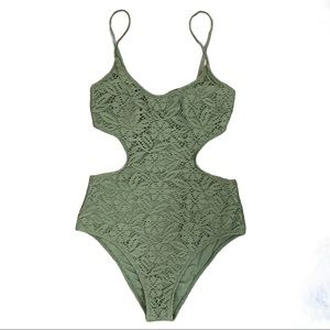 Aerie Knitted Crochet Cheeky 1 Piece Bathing Suit